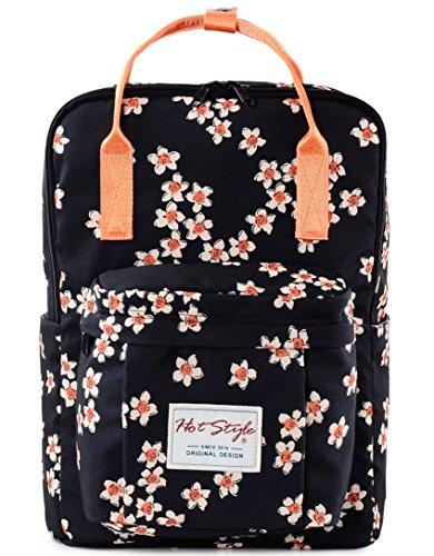 dca7a72876f69 Wasserdichte Mädchen Schulrucksack für Laptop 14 zoll – HotStyle Blumen  Rucksack 18L – Schwarz