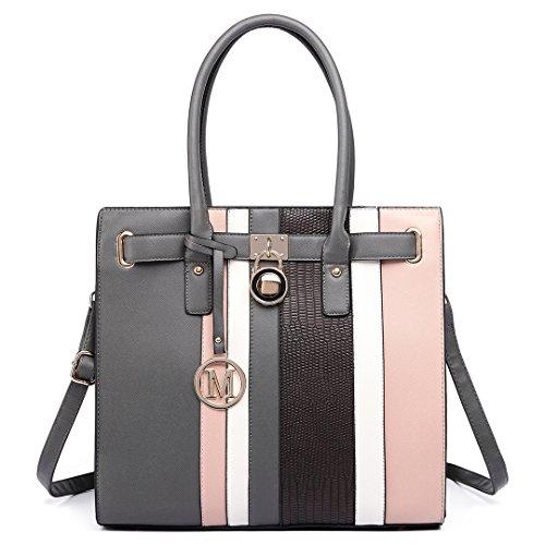 5529eec7f28eb Miss LuLu Schultertasche Aktentasche Damen PU Leder Shopper Handtasche  Umhängetasche Tote Bag 34 × 33 × 11 LT6620-Grau